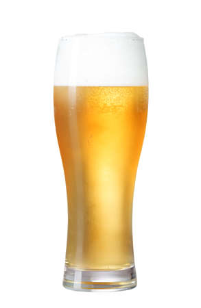glass of beer isolated on white with clipping path included photo