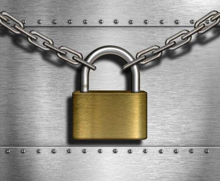 travar: cadeado fechado com correntes e fundo de metal industrial