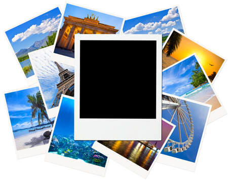 nightscene: Instant photo frame over traveling pictures isolated on white