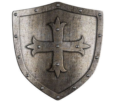 boarded: Old crusader metal shield illustration isolated on white