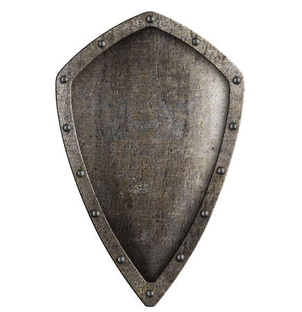 shiny shield: silver metal grate background
