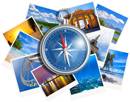 world travel: Traveling photos collage with compass isolated on white background
