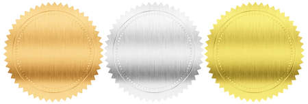 goldfolie: Gold, Silber und Bronze Medaillen Set Dichtungen oder mit Clipping-Pfad enthalten isoliert Lizenzfreie Bilder