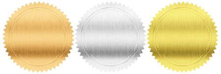 foil: oro, argento e bronzo, sigilli o medaglie impostare isolato con tracciato di ritaglio incluso