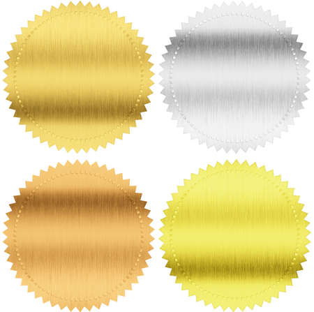 gold, silver and bronze seals or medals isolated with clipping path included photo
