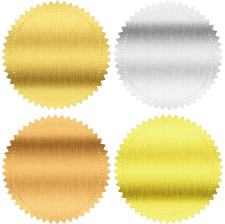 pegatina: sellos o medallas de oro, plata y bronce aislados con trazado de recorte incluidos