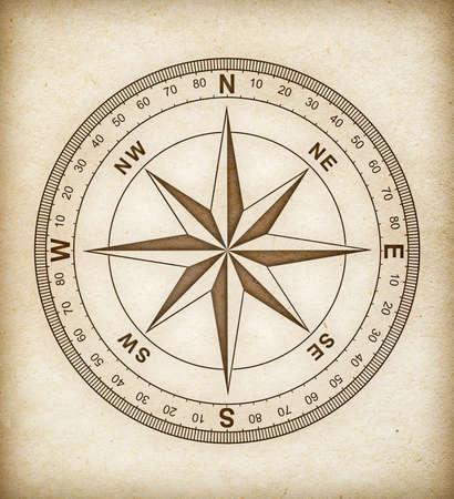 old compass: compass rose on old paper