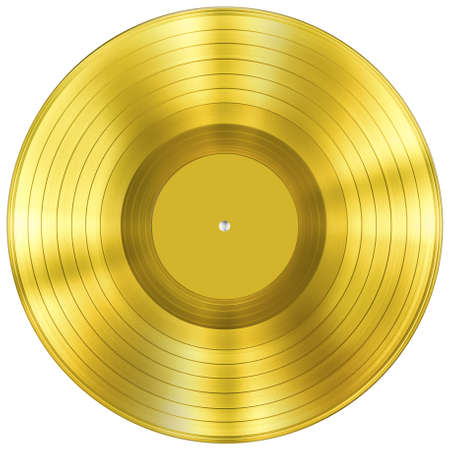 gold record: gold disc music award isolated on white Stock Photo