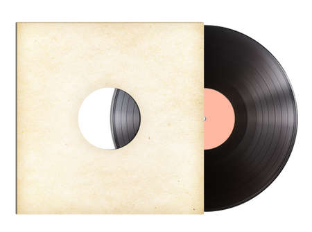 vinyl music disc in paper sleeve isolated photo