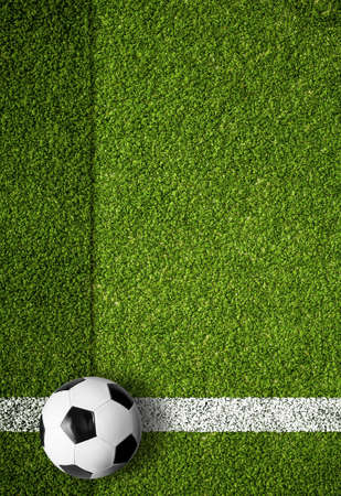 soccer ball on white marking line, edge of football field Stock Photo - 19377649