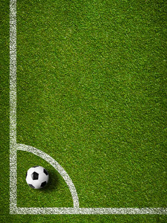 Soccer ball in corner kick position  Football field top view  photo