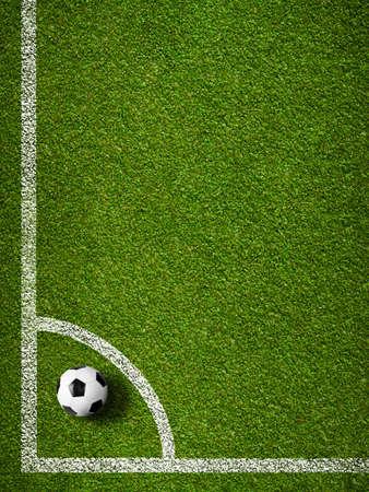 football kick: Soccer ball in corner kick position  Football field top view  Stock Photo