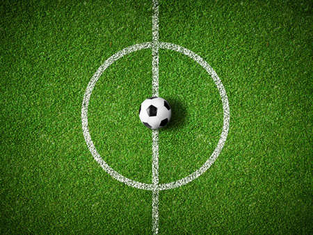 soccer grass: soccer field center and ball top view background