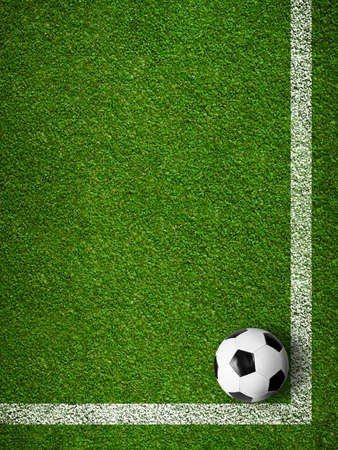 Soccer ball framed by white marking lines top view. Sport background. photo