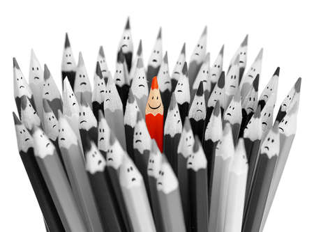 ahead: One bright color smiling pencil among bunch of gray sad pencils