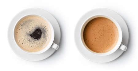 filiżanka kawy: dwie filiżanki kawy samodzielnie na białym tle, widok z góry Zdjęcie Seryjne