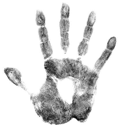 escena del crimen: Palma o impresión de la mano aislados en blanco