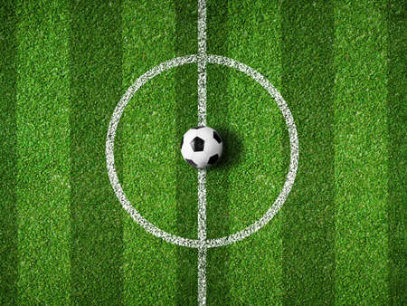 soccer field center and ball top view background Stock Photo - 19552102