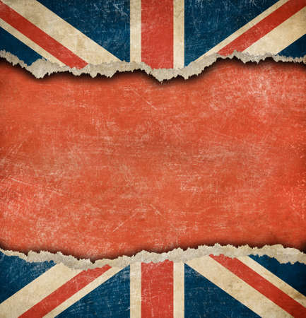 Grunge British flag on ripped paper with big empty space photo