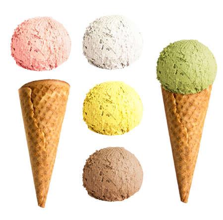 ice cream cone set isolated photo