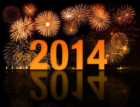 2014 year celebration with fireworks