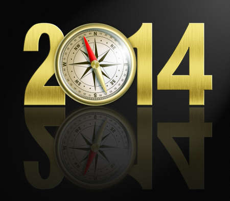 displaying: 2014 new year digits with golden compass illustration Stock Photo