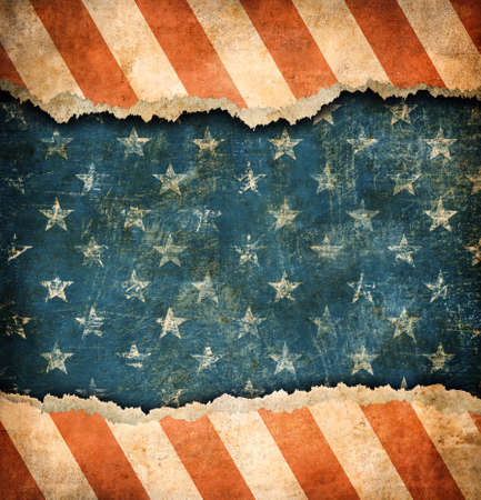 july: Grunge ripped paper USA flag pattern Stock Photo