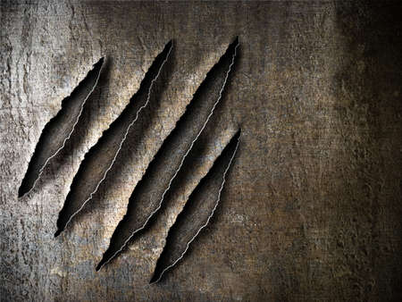 torn metal: claws scratches marks on rusty metal plate