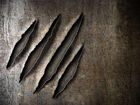 garra: garras ara�azos marca en la placa de metal oxidado Foto de archivo