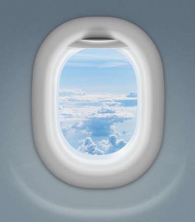 window of airplane or aeroplane photo
