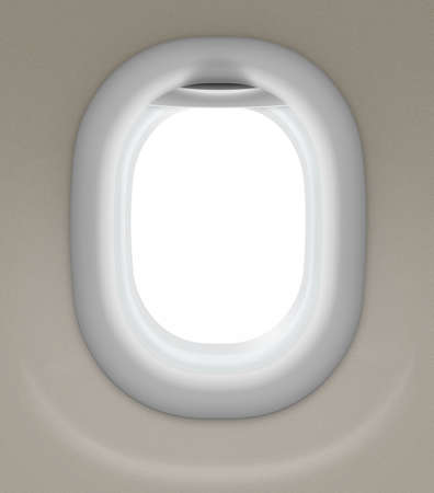 window of airplane isolated with clipping path included photo