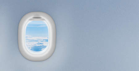 airplane window with copyspace on plastic wall photo