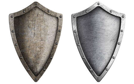 shield set: aged metal shield set isolated on white