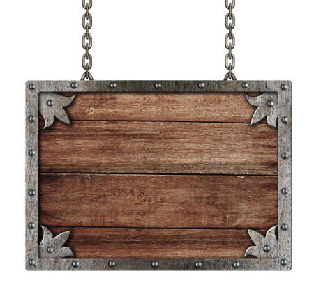 burnt wood: medieval old sign with chains isolated on white