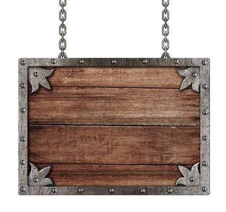 merken: mittelalterliche alte Schild mit Ketten isoliert auf weiß Lizenzfreie Bilder