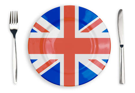 union jack: British flag  plate, fork and knife top view isolated Stock Photo