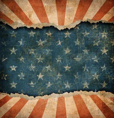 banderas america: Grunge rasgado de papel modelo de la bandera EE.UU.