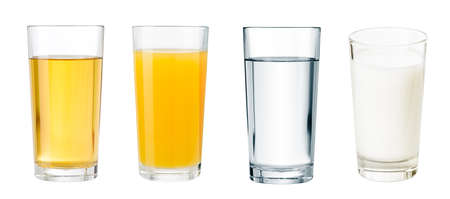 clarified: full glasses with different beverages isolated  set Stock Photo