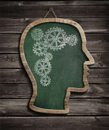 Human brain work drawn by chalk on blackboard Stock Photo - 20750624