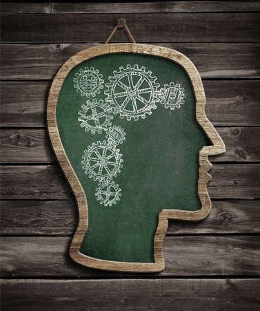 brain work: Human brain work drawn by chalk on blackboard Stock Photo