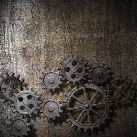 metalen achtergrond met roestige tandwielen en radertjes