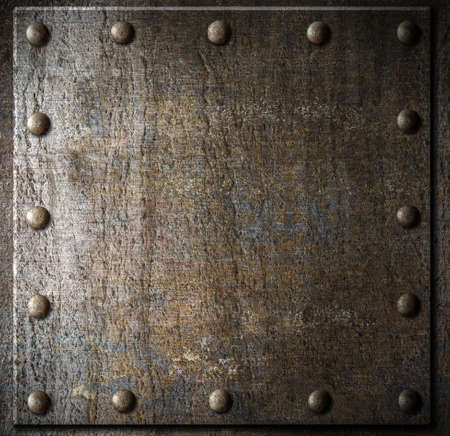 metal sheet: metal background with rivets Stock Photo