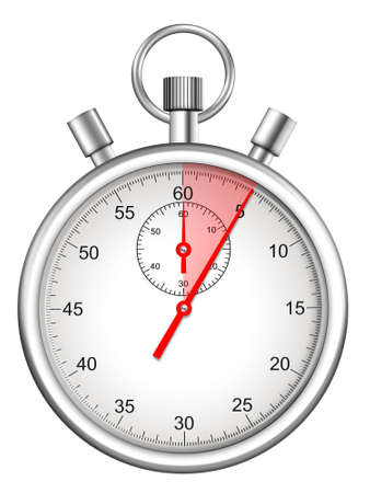 seconds: stopwatch with five seconds period highlighted Stock Photo