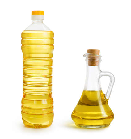 olive and sunflower oil bottles set isolated over white photo