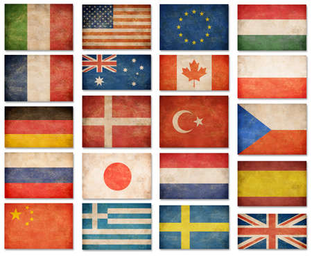 Grunge flags: USA, Great Britain, Italy, France, Denmark, Germany, Russia, Japan, Canada, Spain, Turkey, Netherlands, Australia, Poland, Sweden, Greece, China and others photo