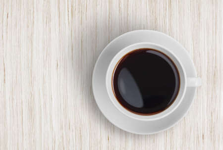 bleached: coffee cup top view on wooden table Stock Photo