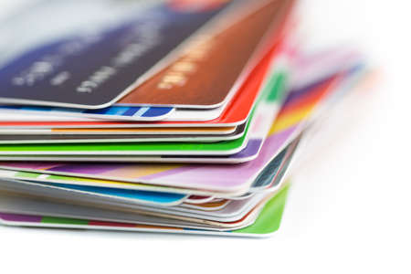 stack of business cards: credit cards stack close up Stock Photo