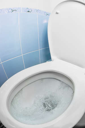 water closet: water flushing in toilet bowl or sink or WC Stock Photo