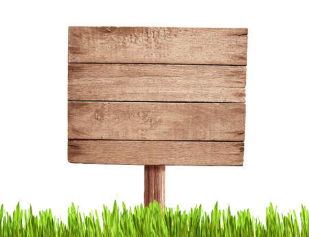 grass plot: old blank wood road sign with grass Stock Photo