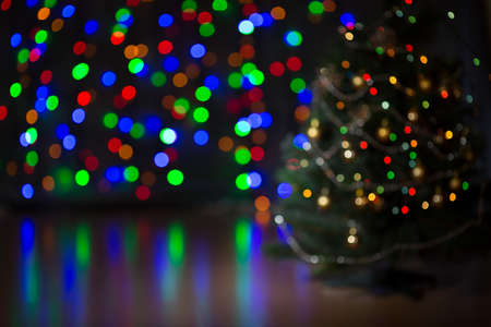 Christmas tree blurred background photo